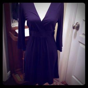 Plum v neck dress